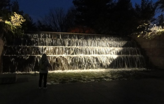 1FDR fountain at night