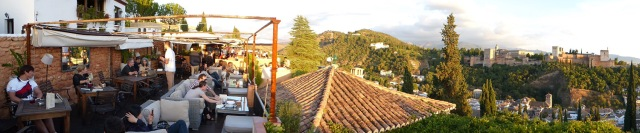 Panarama of restaurant and Alhambra